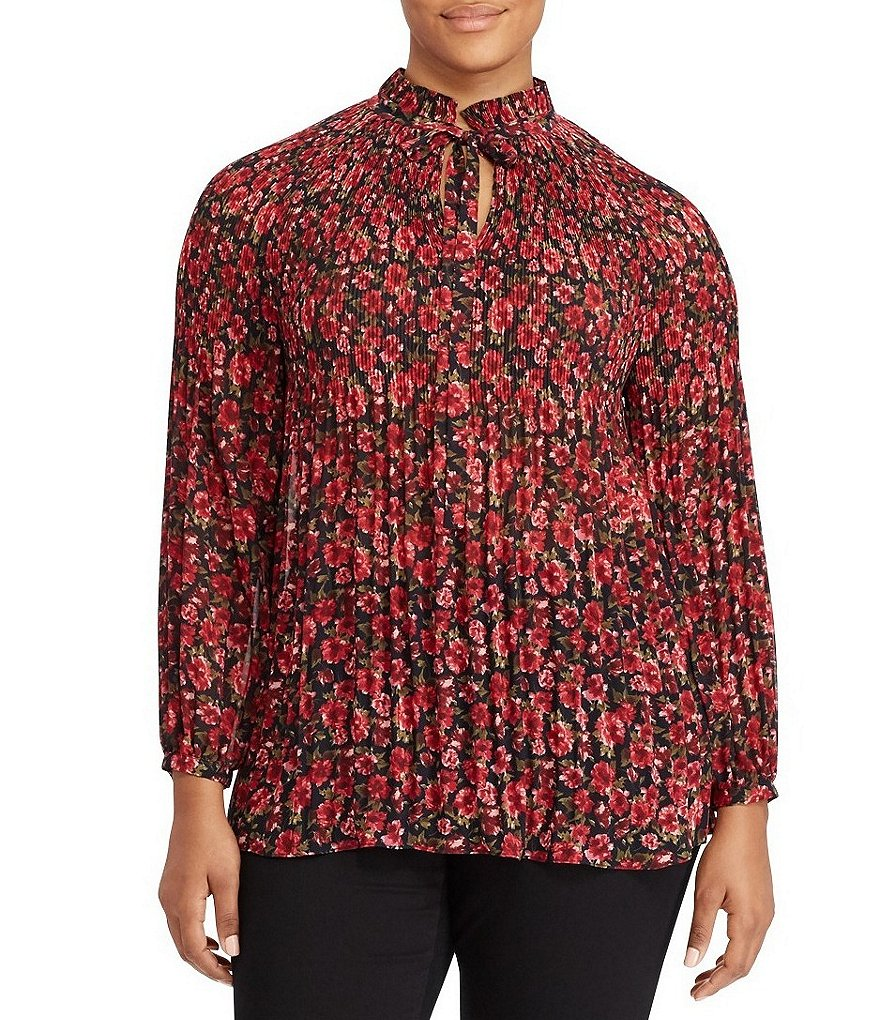 Lauren Ralph Lauren Plus Floral-Print Pleated Blouse