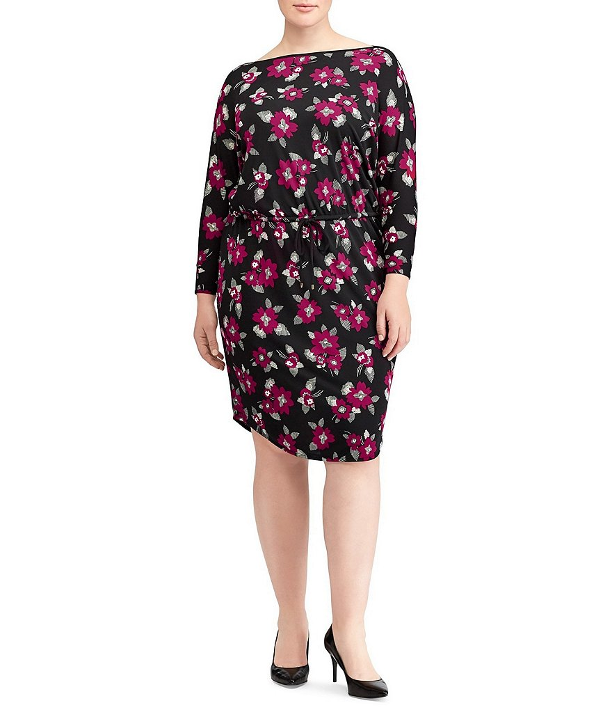 Lauren Ralph Lauren Plus Floral Stretch Jersey Dress