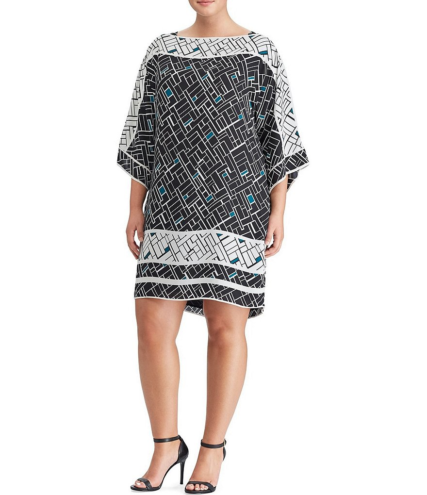 Lauren Ralph Lauren Plus Geometric-Print Georgette Dress