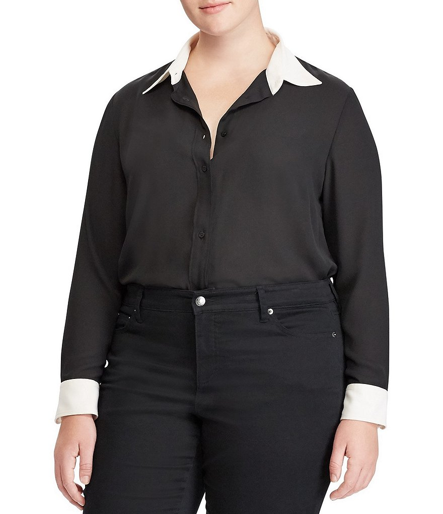 Lauren Ralph Lauren Plus Georgette Button-Down Shirt