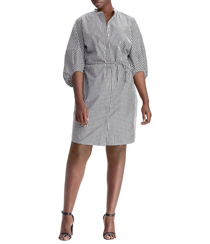 Lauren Ralph Lauren Plus Gingham Print Bishop Sleeve Cotton Shirtdress
