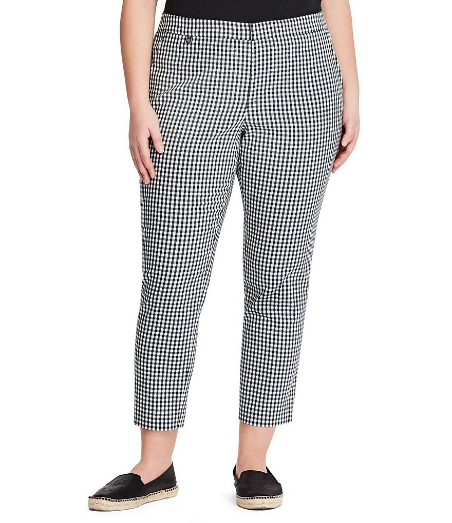 Lauren Ralph Lauren Plus Gingham Skinny Stretch Pant