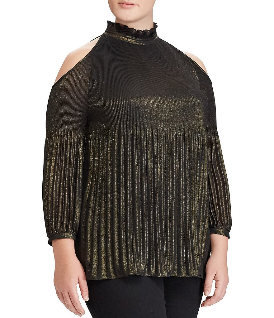 Lauren Ralph Lauren Plus Metallic Georgette Cold-Shoulder Top