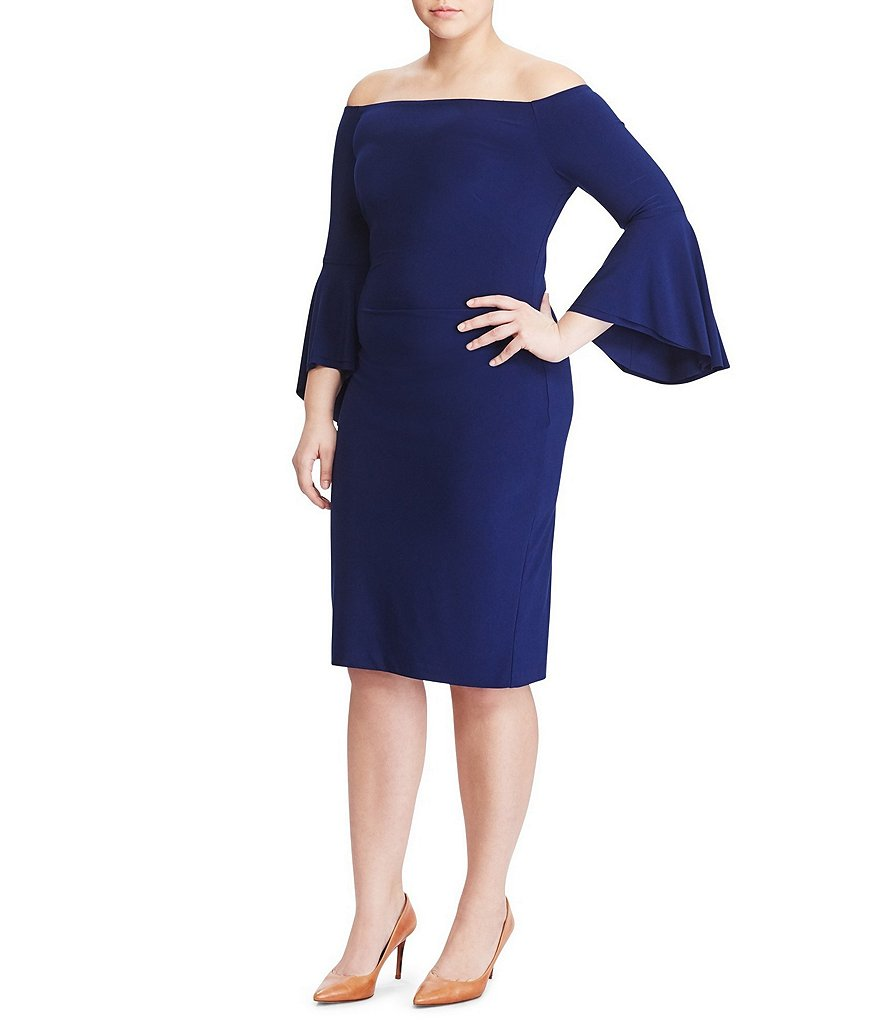 Lauren Ralph Lauren Plus Off-the-Shoulder Bell Sleeve Dress