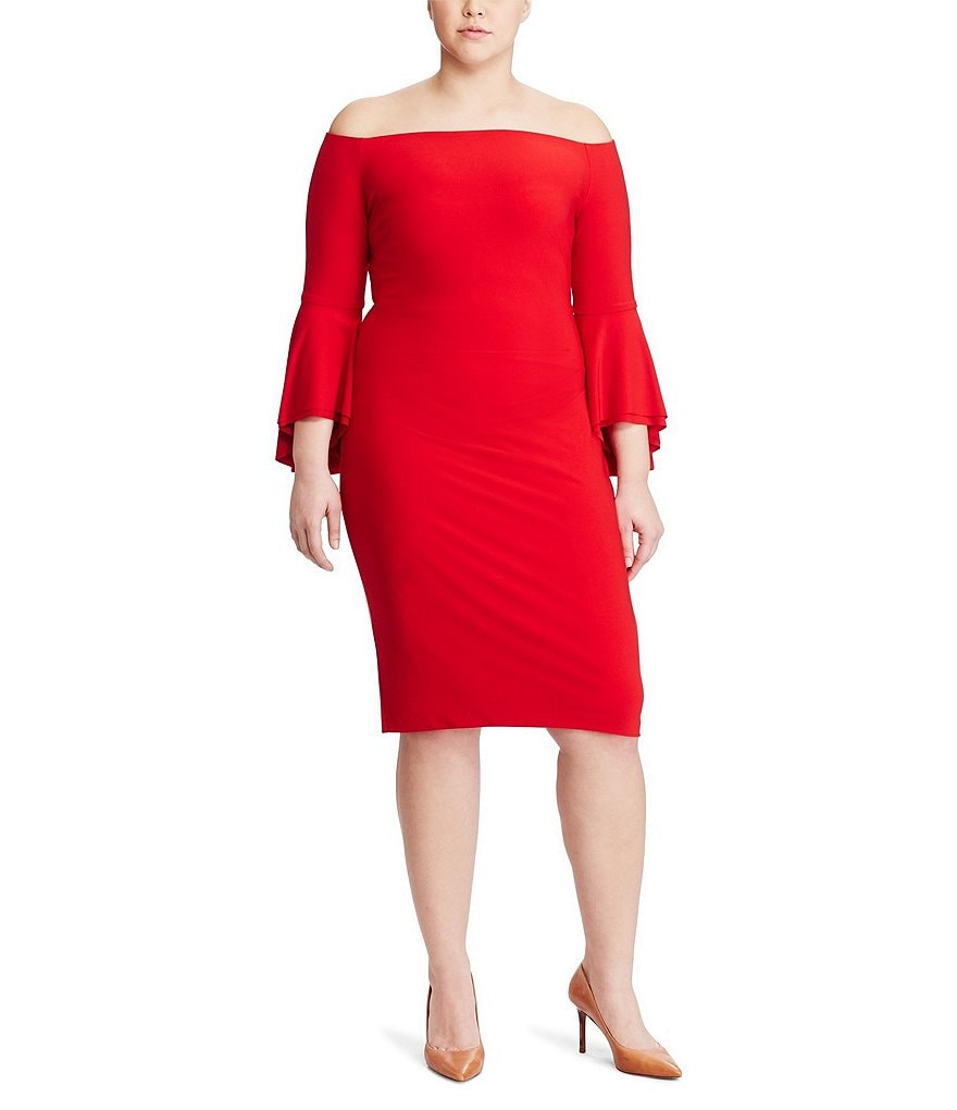 Lauren Ralph Lauren Plus Off-the-Shoulder Bell-Sleeve Sheath Dress