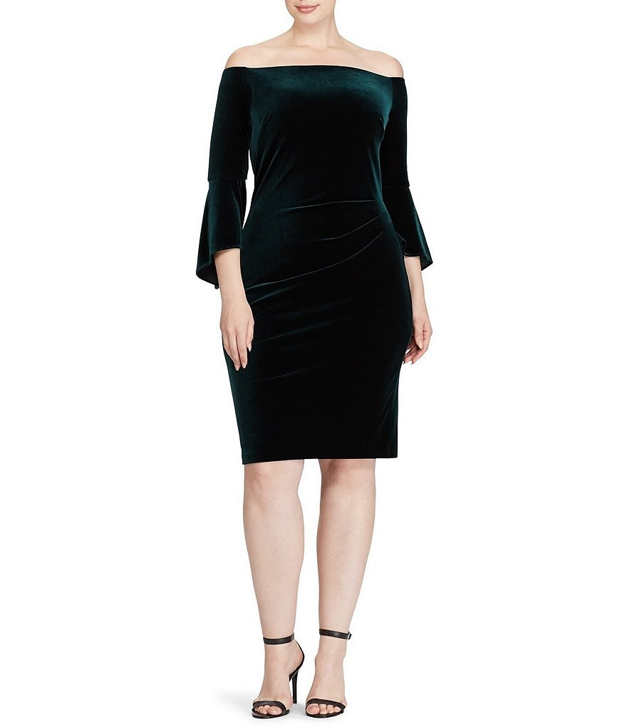 Lauren Ralph Lauren Plus Off-the-Shoulder Velvet Sheath Dress