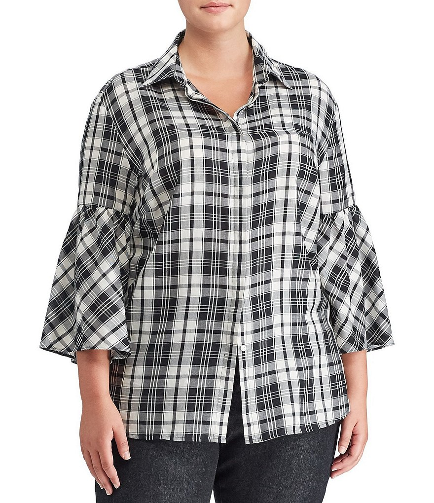 Lauren Ralph Lauren Plus Plaid Bell-Sleeve Cotton Shirt