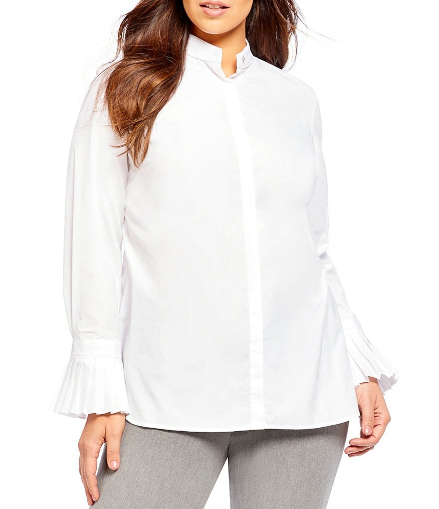Lauren Ralph Lauren Plus Pleated-Cuff Poplin Shirt