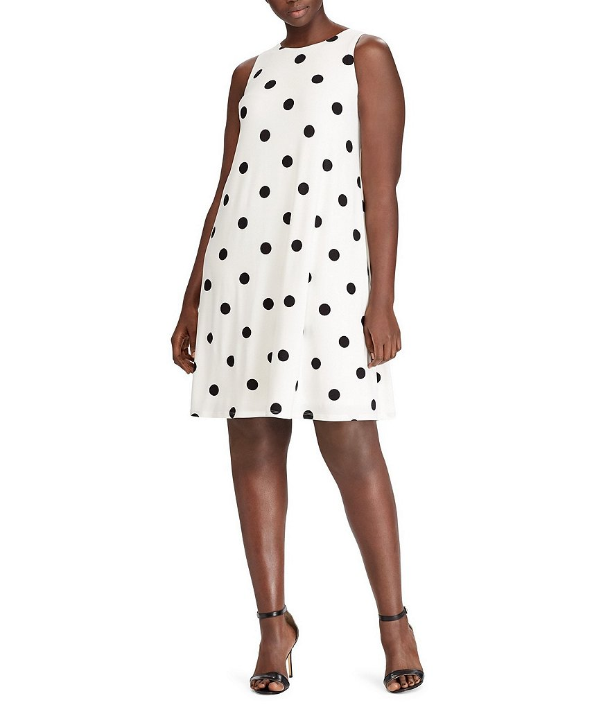 Lauren Ralph Lauren Plus Polka-Dot Jersey A-Line Dress