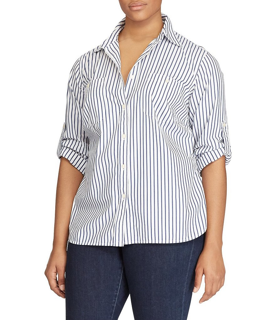 Lauren Ralph Lauren Plus Roll-Sleeve Shirt