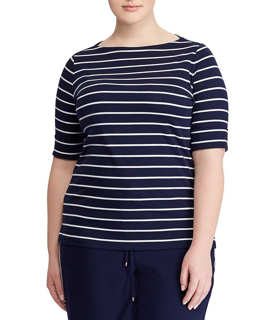 Lauren Ralph Lauren Plus Size Striped Cotton Boatneck T-Shirt