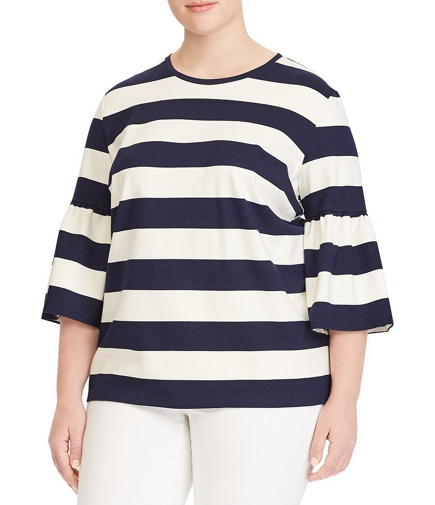 Lauren Ralph Lauren Plus Striped Ponte Bell-Sleeve Top