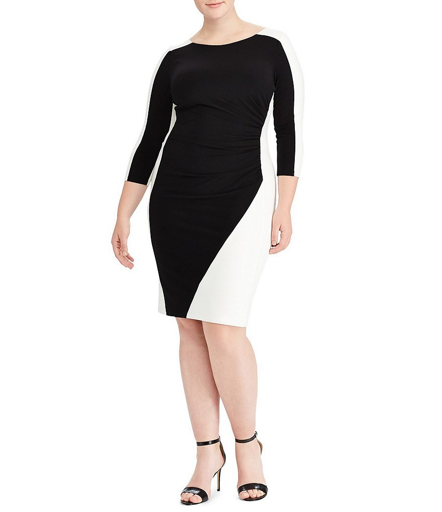Lauren Ralph Lauren Plus Two-Tone Ruched Jersey Dress