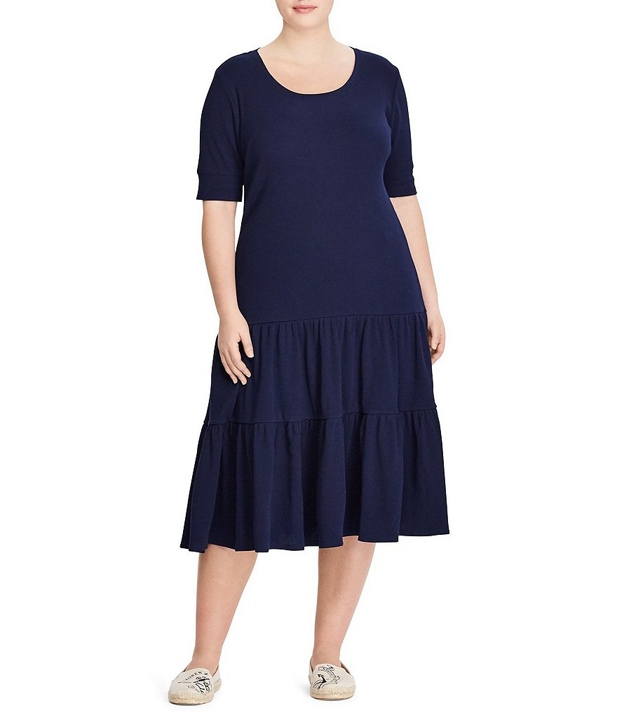Lauren Ralph Lauren Plus Waffle-Knit Cotton Dress