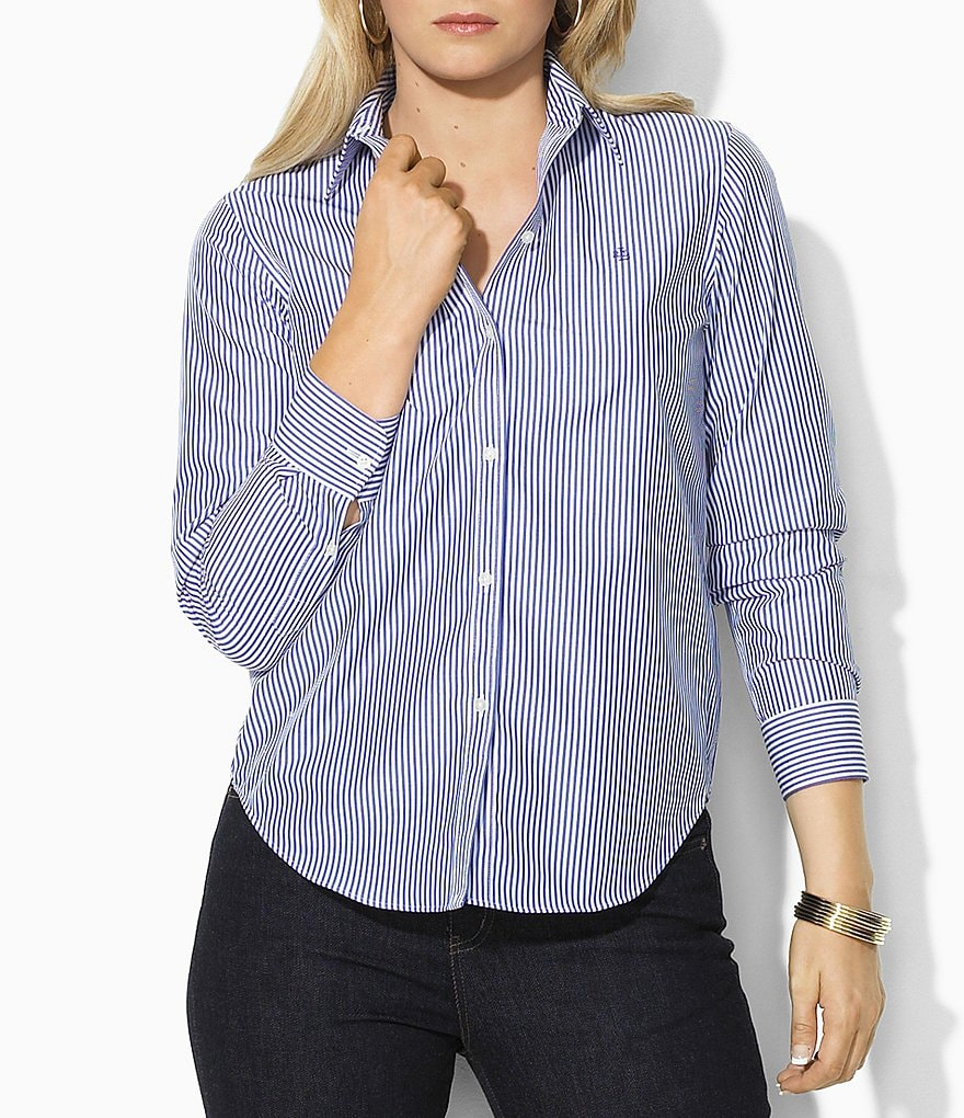 Lauren Ralph Lauren Plus Wrinkle-Free Slim Dress Shirt