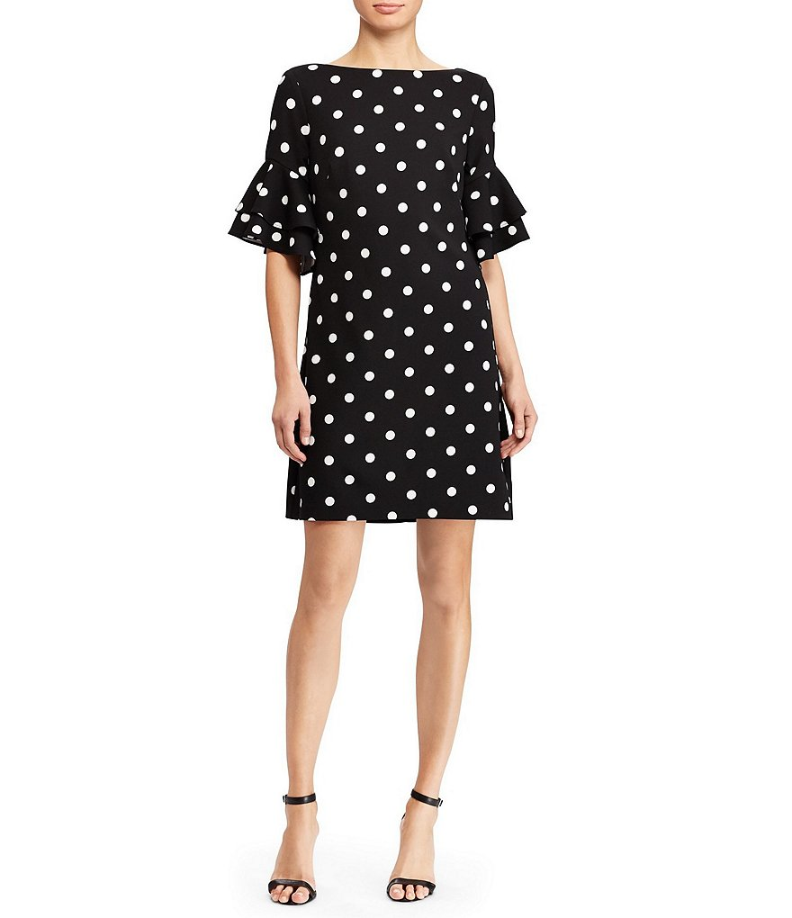 Lauren Ralph Lauren Polka Dot Crepe Ruffle Sleeve Shift Dress