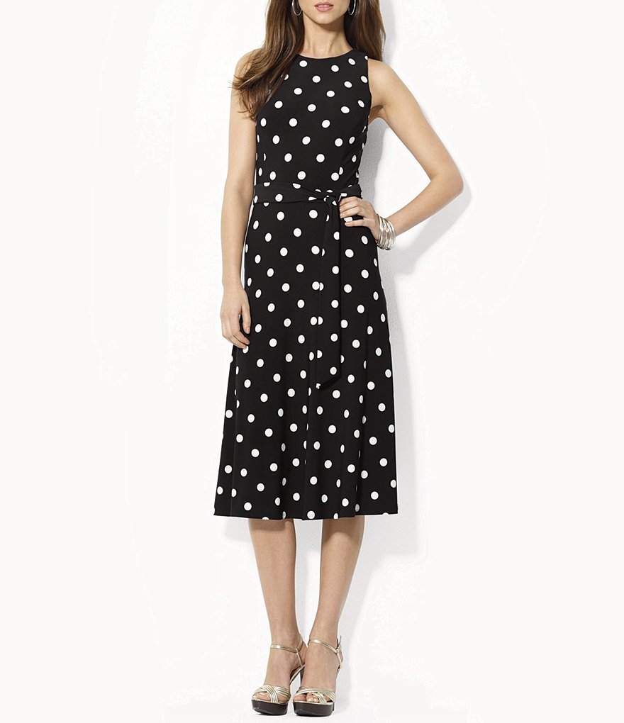 Lauren Ralph Lauren Racing Polka Dot Midi Dress