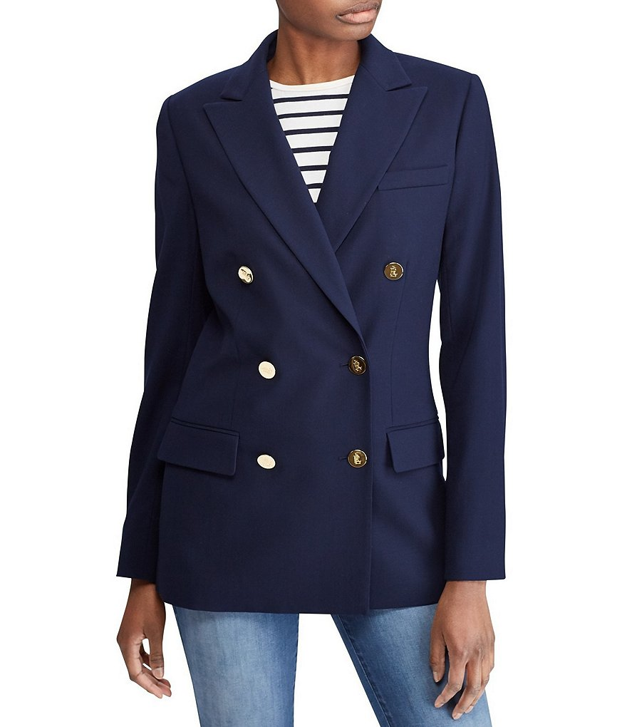 Lauren Ralph Lauren Satin Trim Stretch Wool Blazer