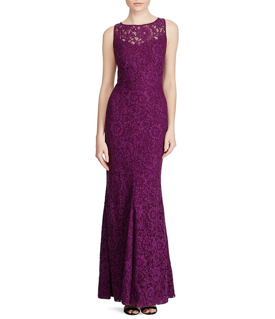 Lauren Ralph Lauren Scalloped Lace Gown