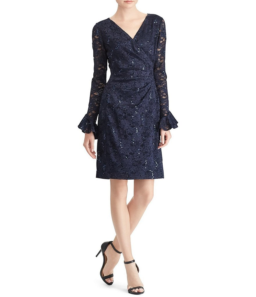 Lauren Ralph Lauren Sequin Lace Ruffle Sleeve Sheath Dress