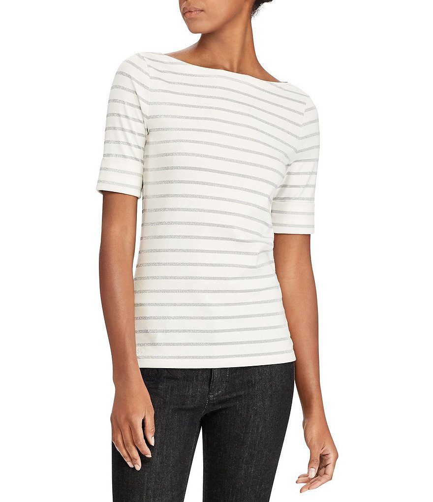Lauren Ralph Lauren Stripe Cotton Boatneck T-Shirt