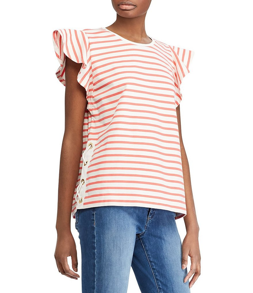 Lauren Ralph Lauren Striped Cotton Side Lace-Up Flutter Cap Sleeve T-Shirt