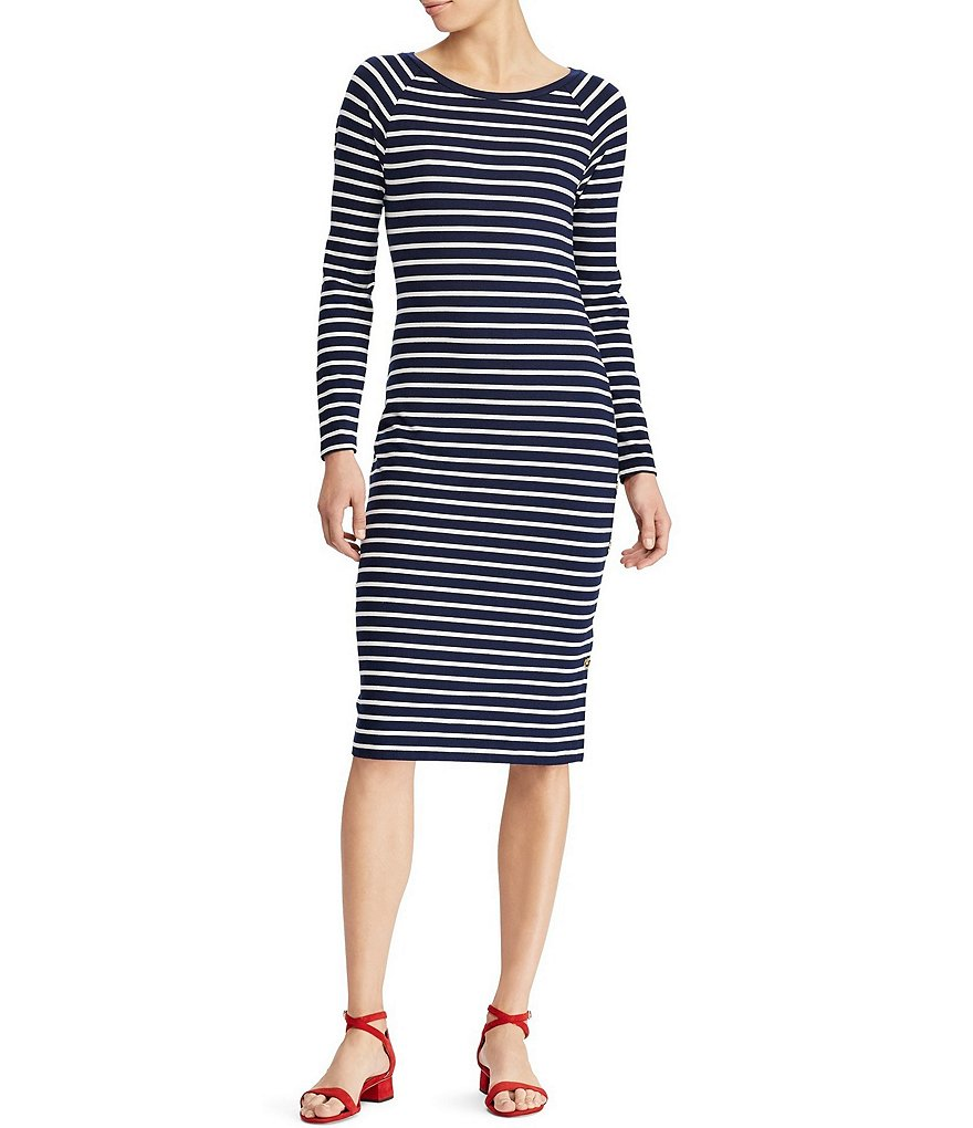 Lauren Ralph Lauren Striped Jersey T-Shirt Midi Dress