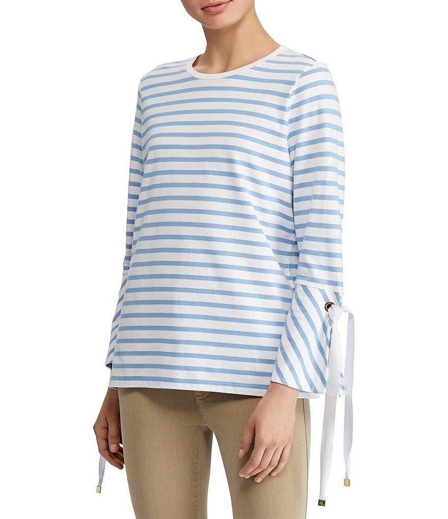 Lauren Ralph Lauren Striped Jersey Tie Detail Bell Sleeve Top