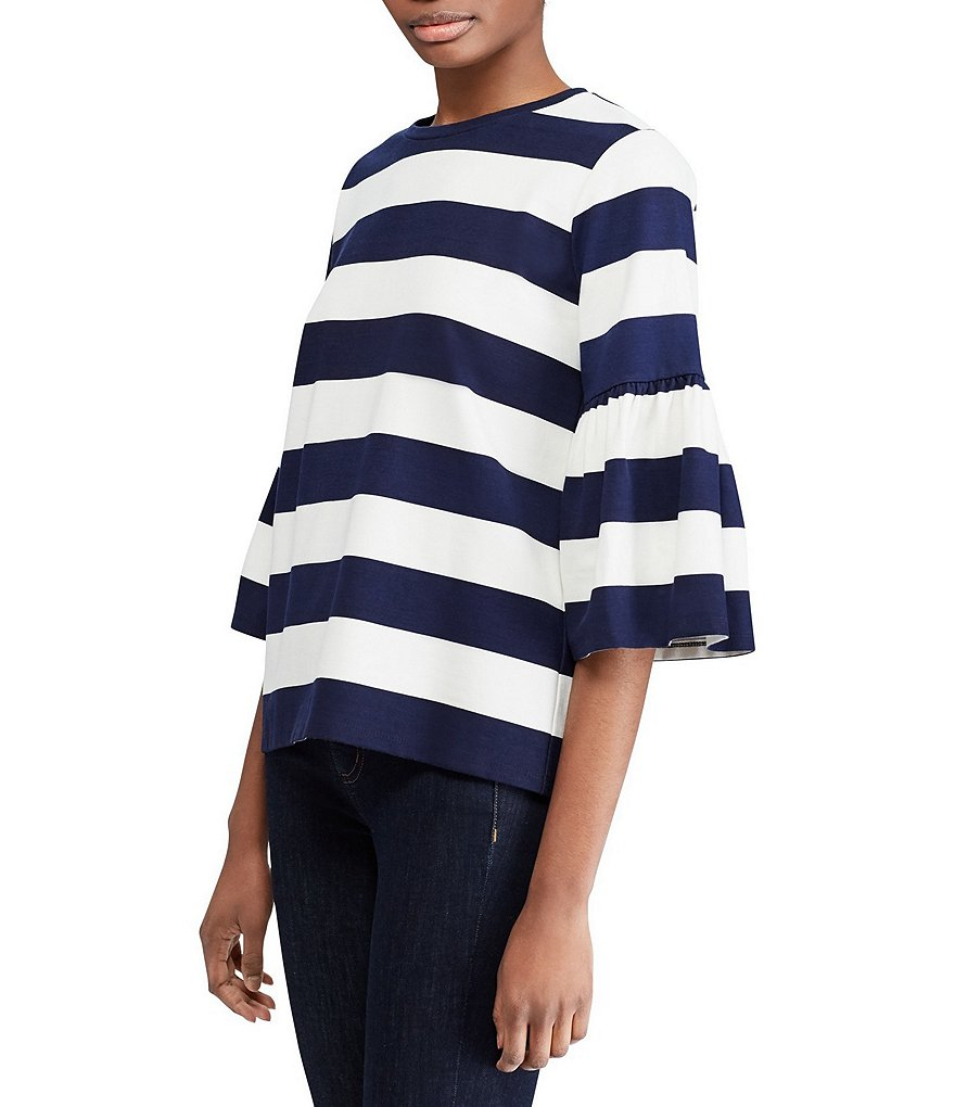 Lauren Ralph Lauren Striped Ponte Bell-Sleeve Top