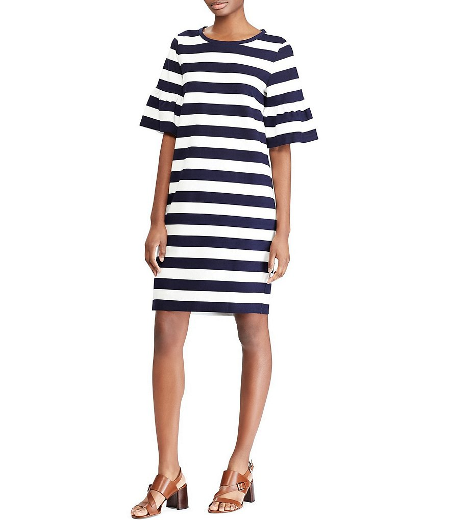Lauren Ralph Lauren Striped Ponte Bell Sleeve Shift Dress