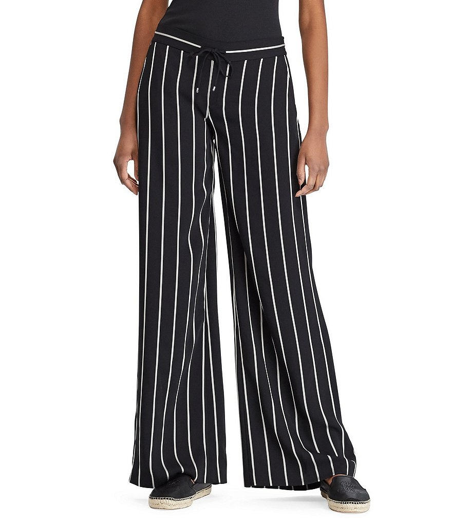 Lauren Ralph Lauren Striped Satin Wide-Leg Pant