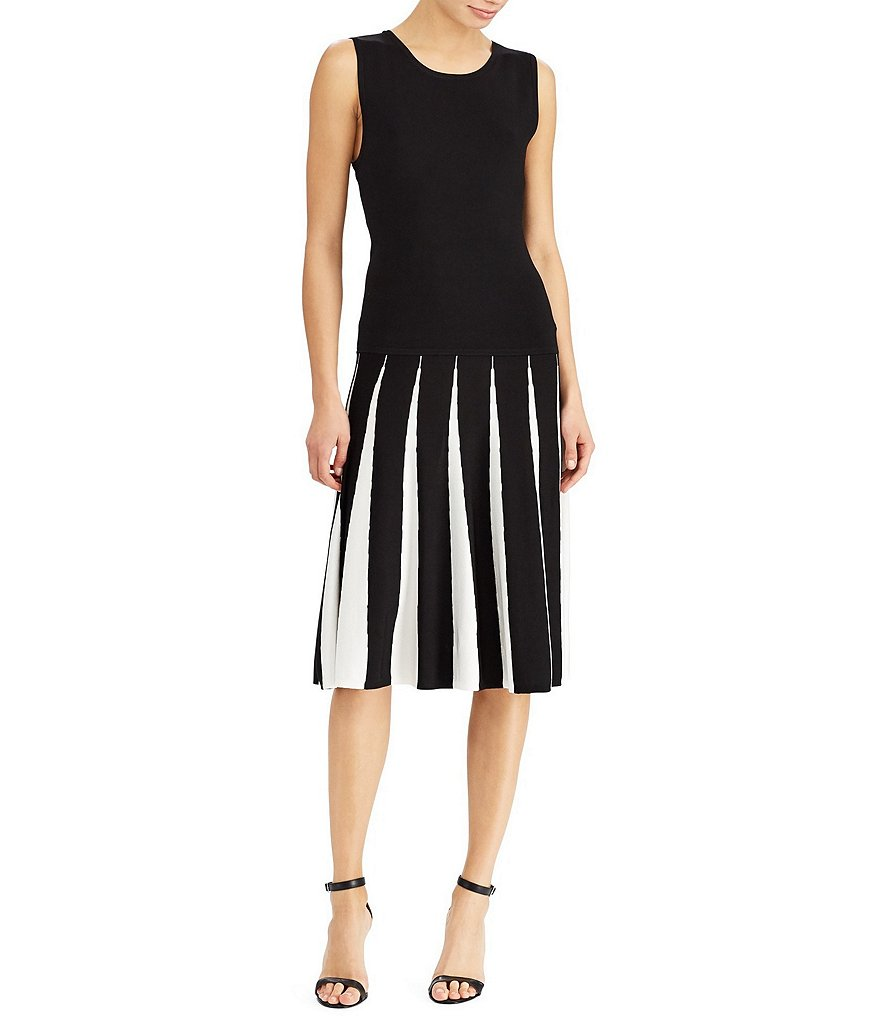 Lauren Ralph Lauren Two-Tone Fit-and-Flare Sweater Dress