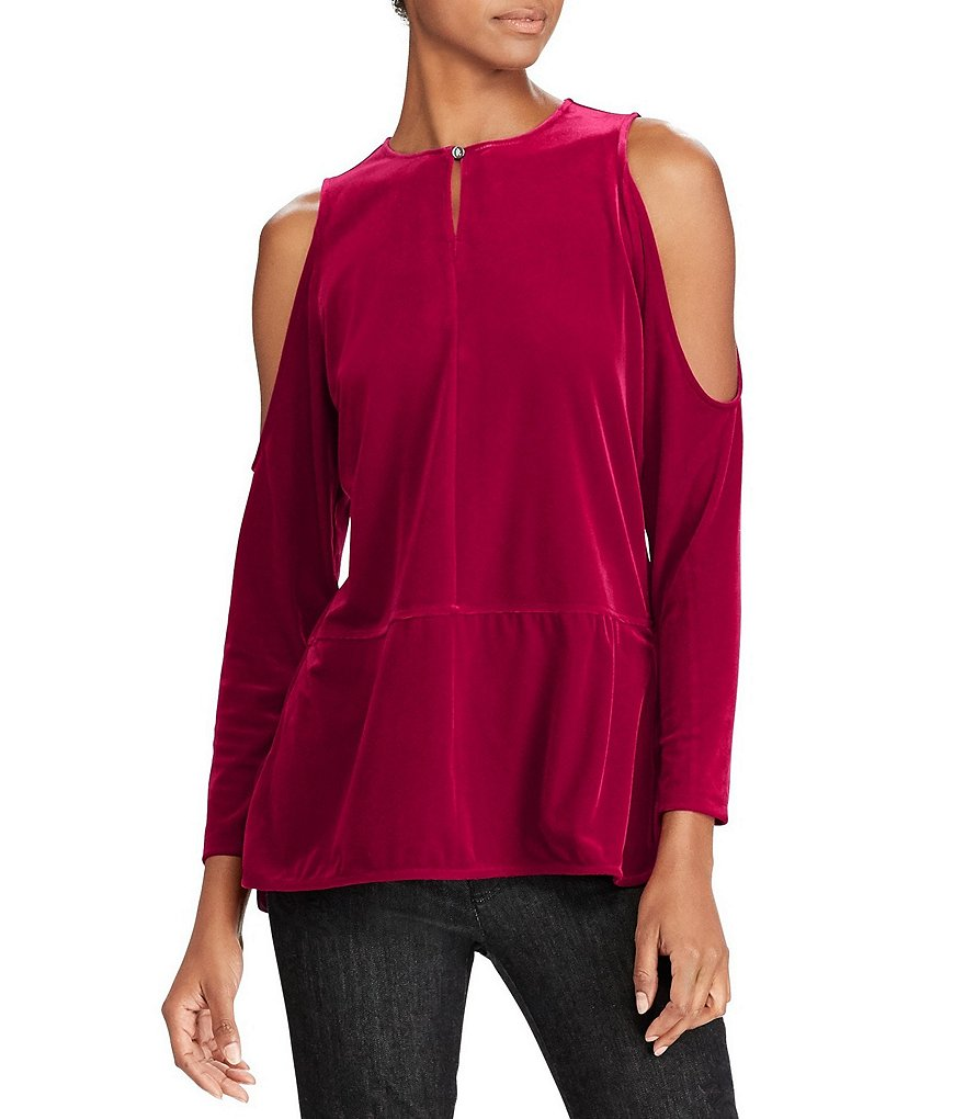 Lauren Ralph Lauren Velvet Cold-Shoulder Top