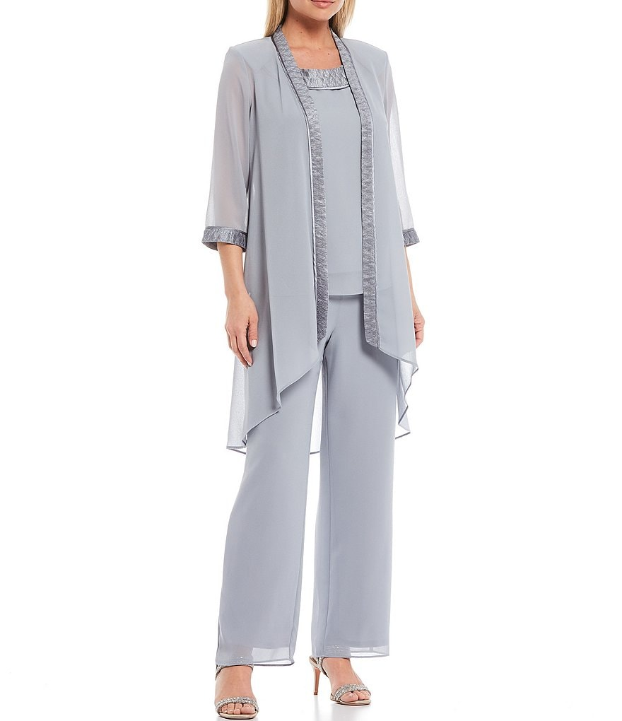 Le Bos Evening 3-Piece Chiffon Pant Set | Dillards