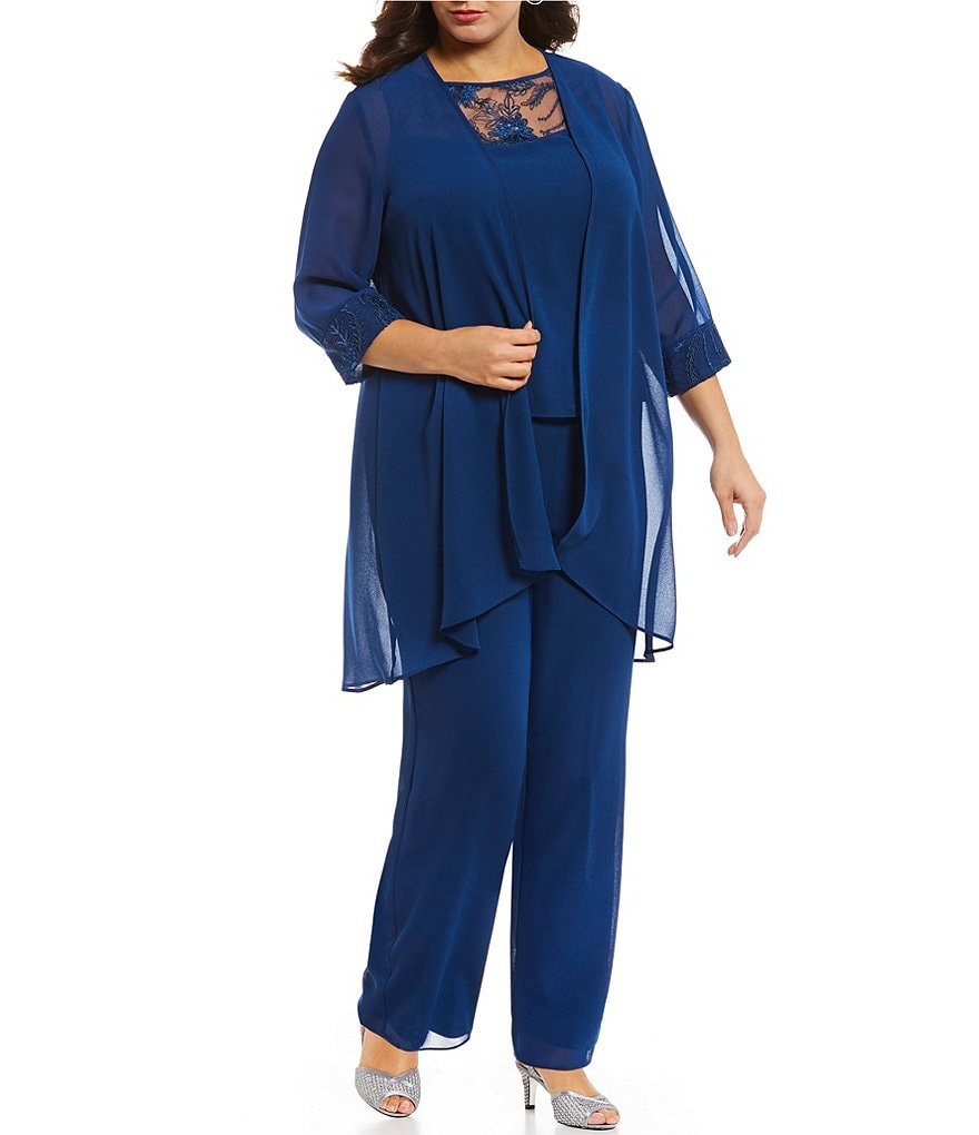 Le Bos Plus Chiffon Embroidered 3 Piece Pant Set Dillard S