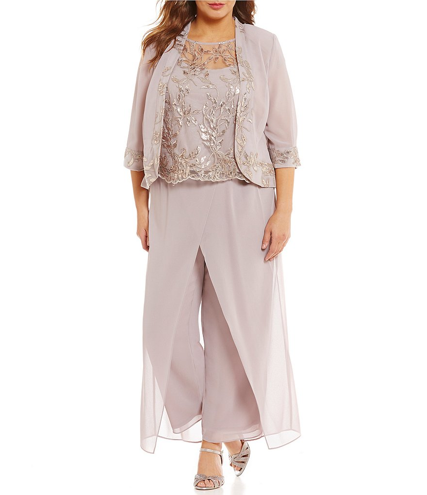 Le Bos Plus Embroidered 3-Piece Pant Set