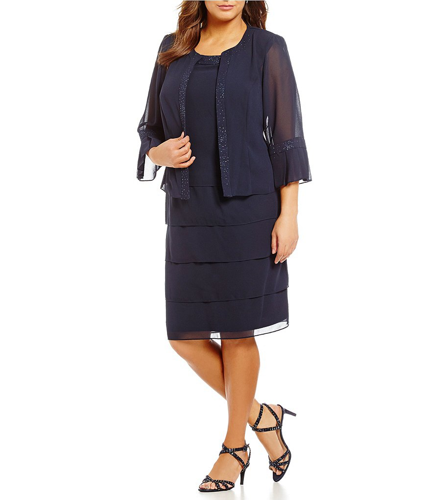 Le Bos Plus Glitter-Trim Tiered 2-Piece Jacket Dress