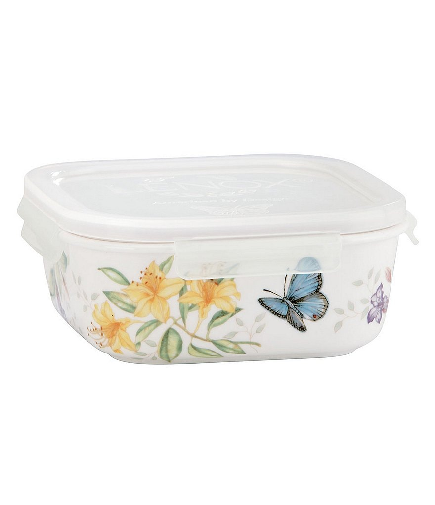 Lenox Butterfly Meadow Floral Porcelain Square Serve & Store Container with Plastic Lid