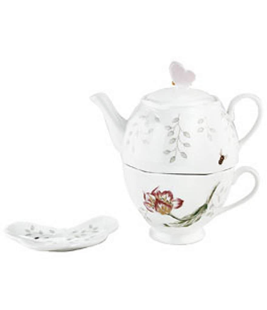 Lenox Butterfly Meadow Floral Porcelain Stacking Tea Set with Bag Holder