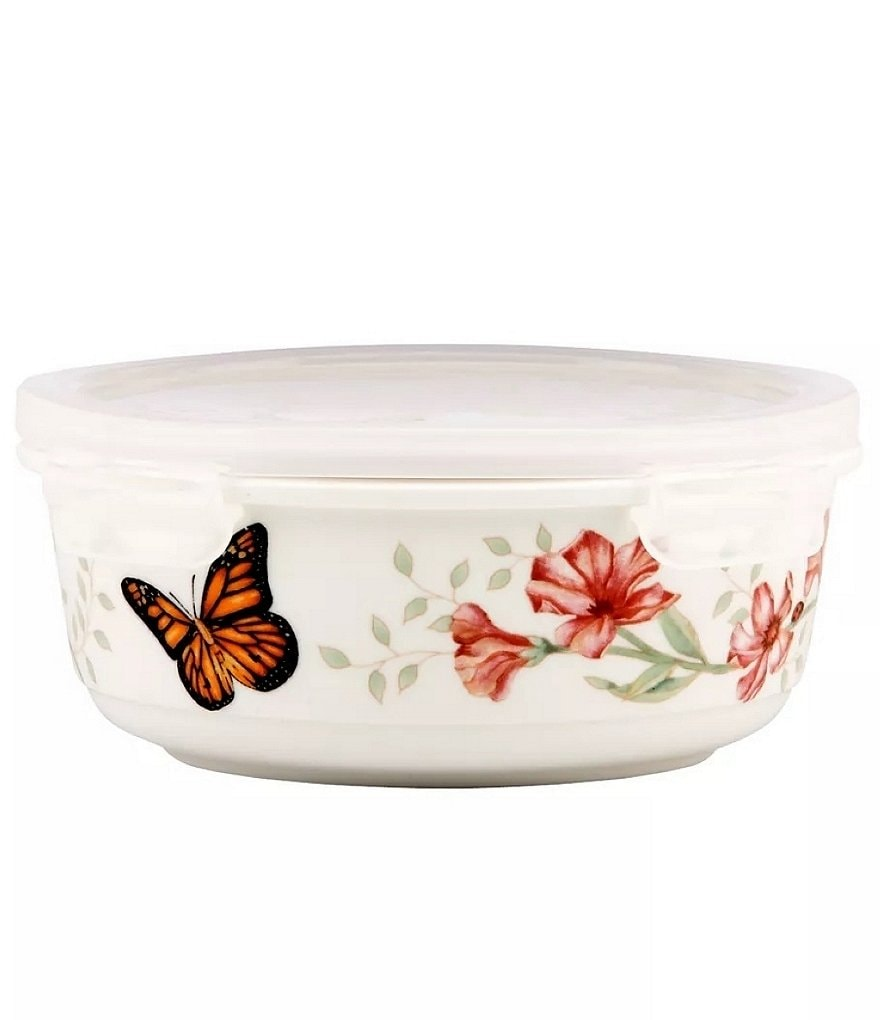 Lenox Butterfly Meadow Serve & Store Porcelain Bowl with Lid