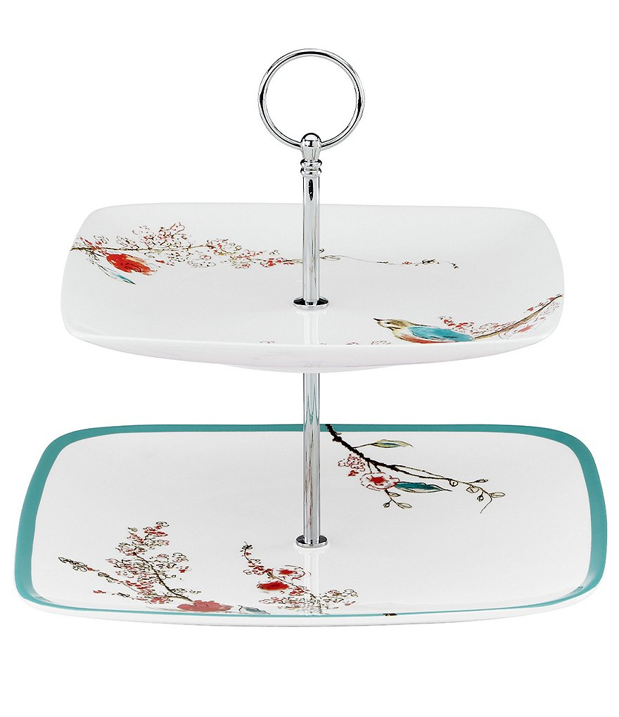 Lenox Chirp Floral & Bird Bone China Two-Tiered Square Server