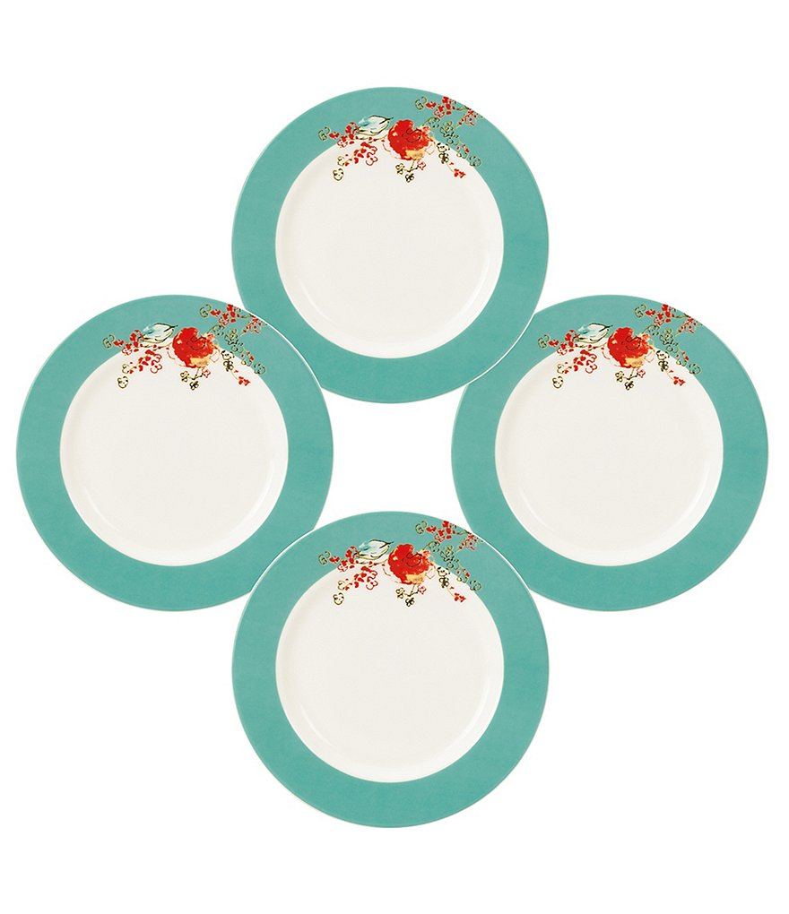 Lenox Chirp Floral Bone China Dessert Plates, Set of 4