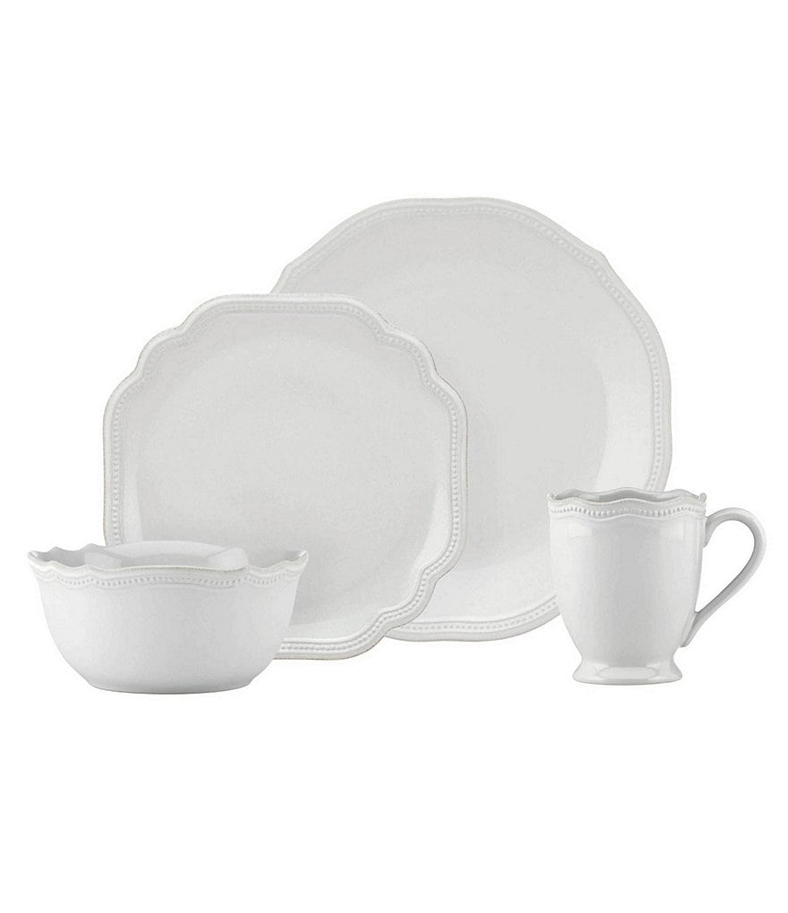Lenox French Perle Bead Scalloped Stoneware 4-Piece Place Setting  sc 1 st  Dillard\u0027s & Lenox French Perle Bead Scalloped Stoneware Dinnerware   Dillards
