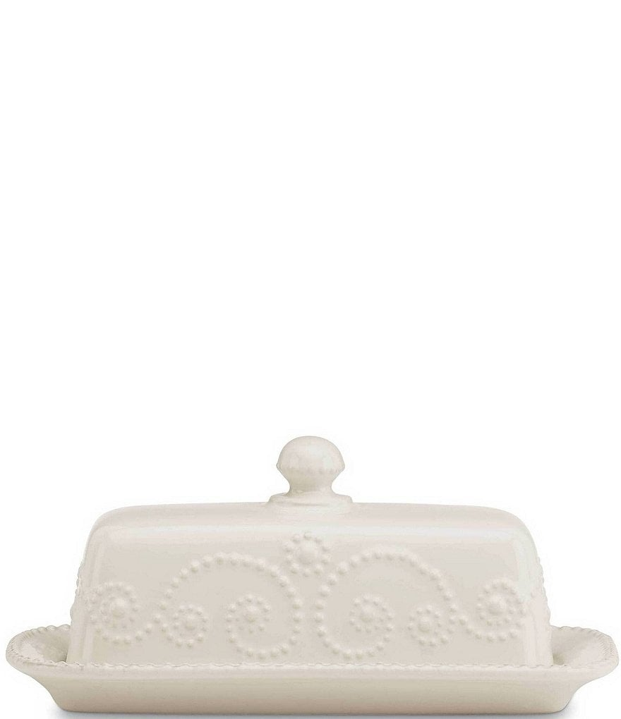 Lenox French Perle Scalloped Stoneware Covered Butter Dish