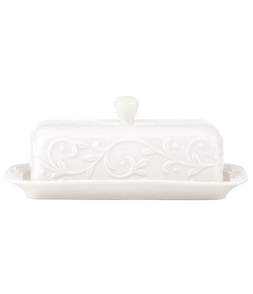 Lenox Opal Innocence Carved Scroll Porcelain Covered Butter Dish