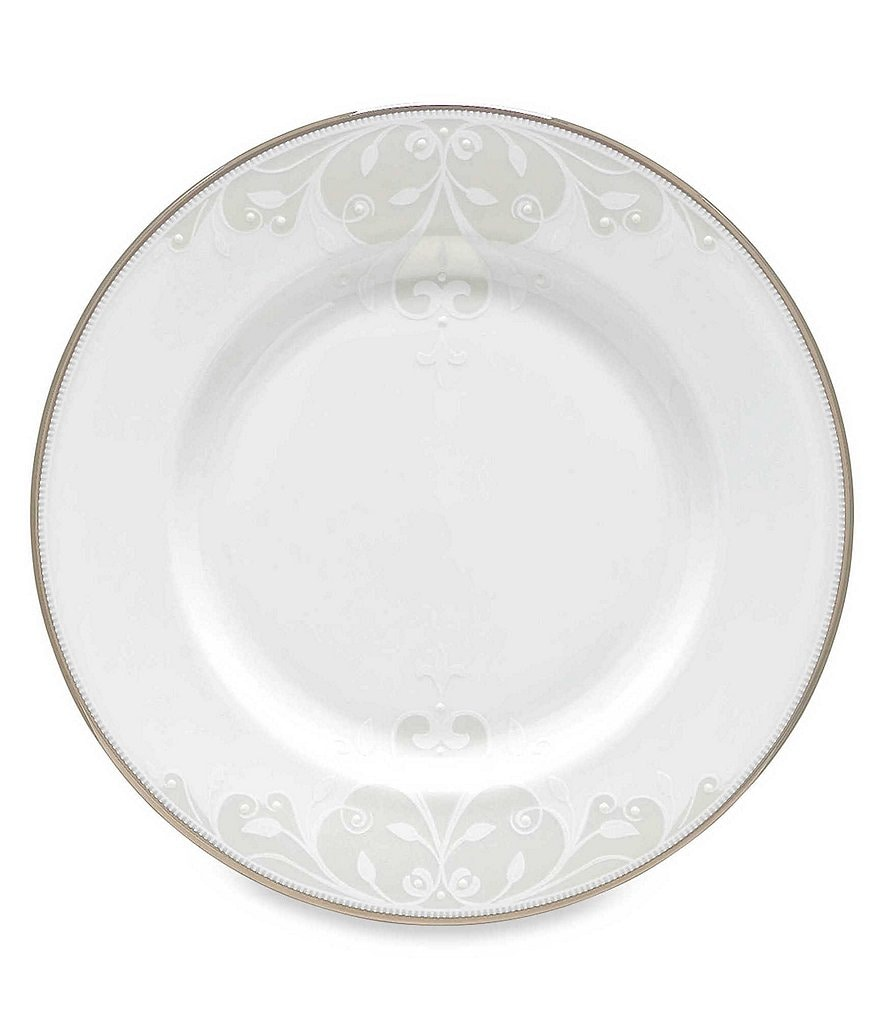 Lenox Opal Innocence Scroll Platinum Bone China Salad Plate
