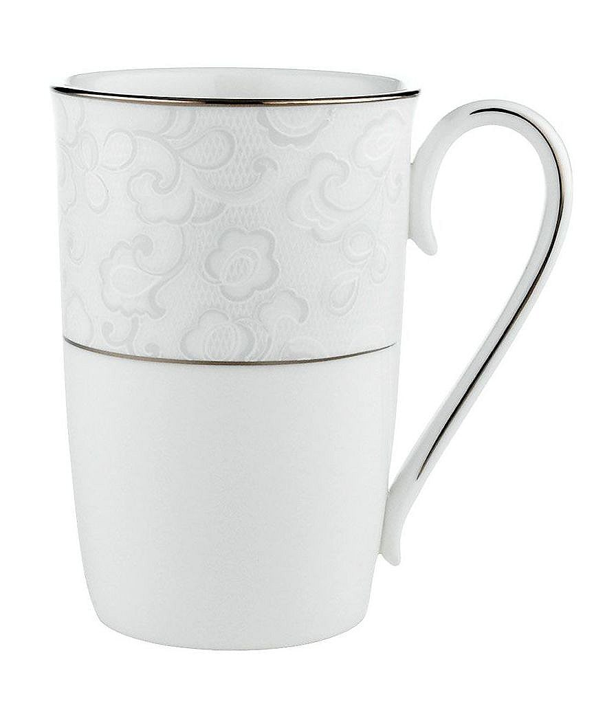 Lenox Venetian Lace Floral Platinum Bone China Accent Mug