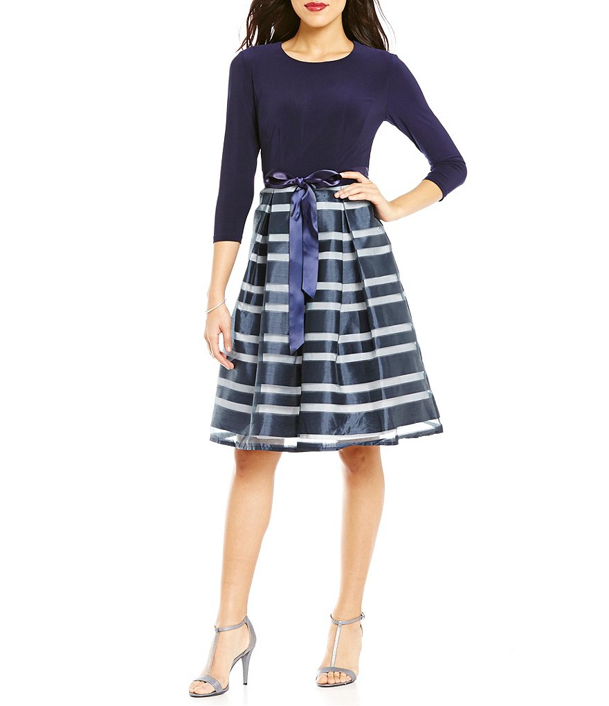 Leslie Fay 3/4 Sleeve Striped Organza Party Dress