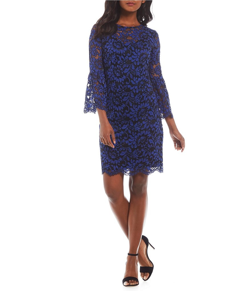 Leslie Fay Bell-Sleeve Lace Dress