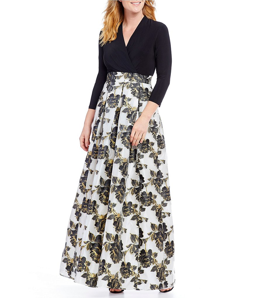 Leslie Fay Faux-Wrap Printed Floral Ballgown